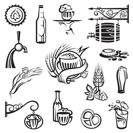 botellas de cerveza: los iconos de la cerveza configurar