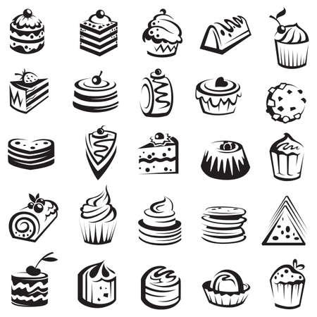 cup cakes: conjunto de las tortas Vectores