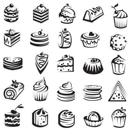 cake illustration: set of cakes