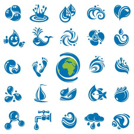 �cologie: ensemble d'ic�nes abstraites eaux