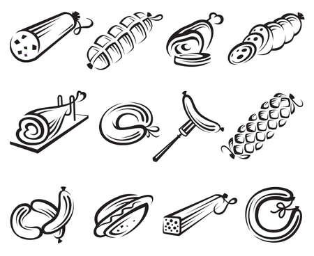 c�telette de porc: la viande et les saucisses jeu d'ic�nes Illustration