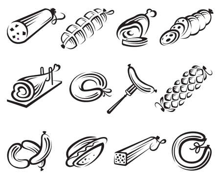 boiled sausage: meat and sausages icon set Illustration