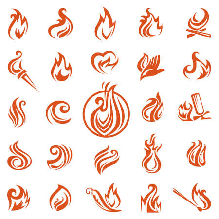 fire extinguisher sign: collection of different fire icons Illustration