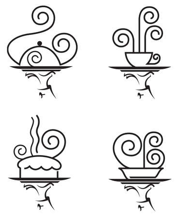 set van vier restaurants iconen Vector Illustratie