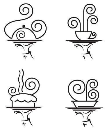 trays: un conjunto de cuatro iconos de restaurantes