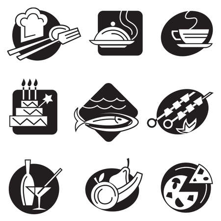 dinner food: set of different food icons