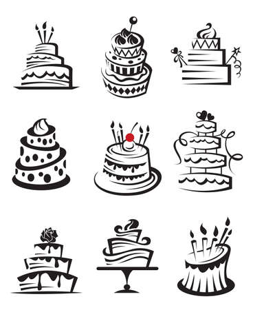 pastel de chocolate: conjunto de las tortas Vectores