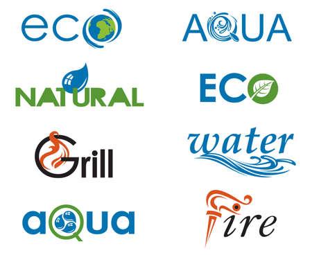 leaf water drop: ecology icon set