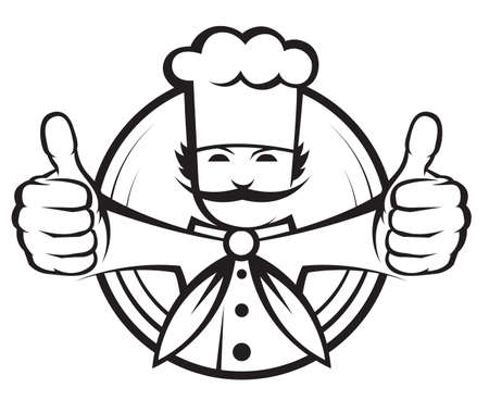 cartoon kitchen: chef con un gran bigote