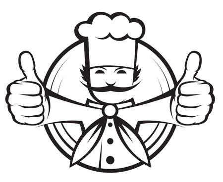 fartuch: kucharz z dużym wąsem