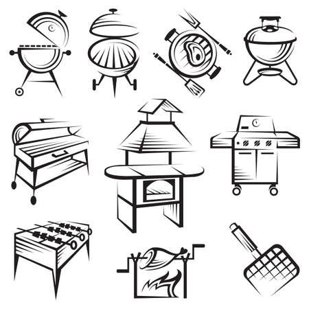 conjunto de diseño barbacoa Ilustración de vector
