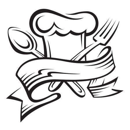 cooking icon: cocinero sombrero, cuchara y tenedor Vectores