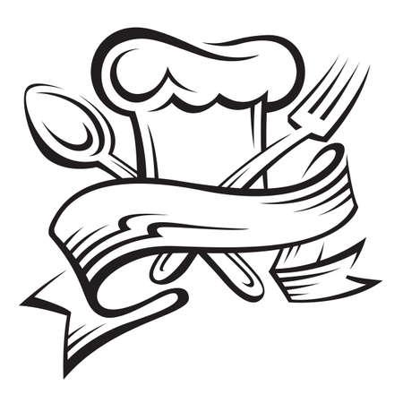 cuoco cappello, cucchiaio e forchetta