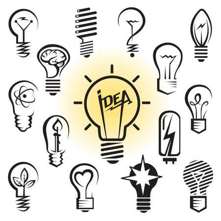 bombilla: iconos conjunto de bombillas