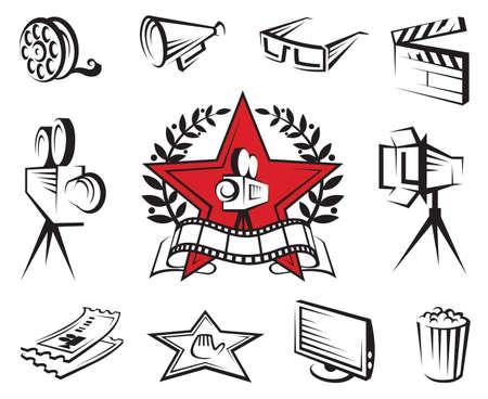 кинематография: набор иконок кино и фильмы