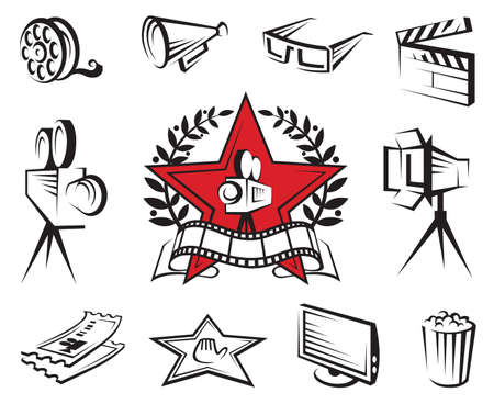strip show: icons set of cinema and movies