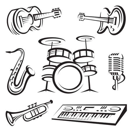 monochrome set of musical instruments Vector