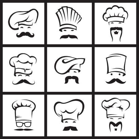 chef caricatura: ilustraci�n monocrom�tica de nueve chefs bigotudos