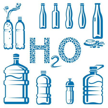 superficie: Conjunto de botellas de agua diferentes Vectores