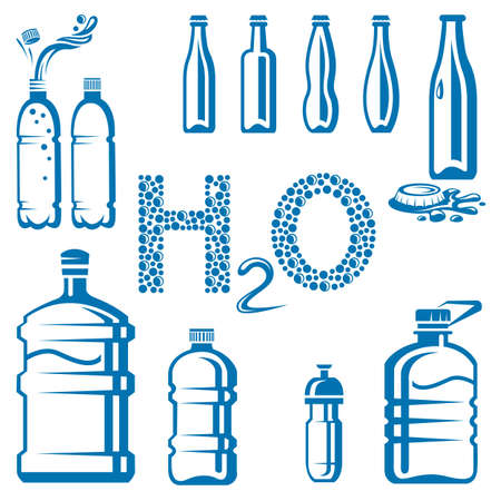 pure element: set of different water bottles Illustration
