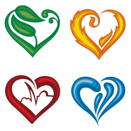 electrocardiogram: set of four different icons of hearts Illustration
