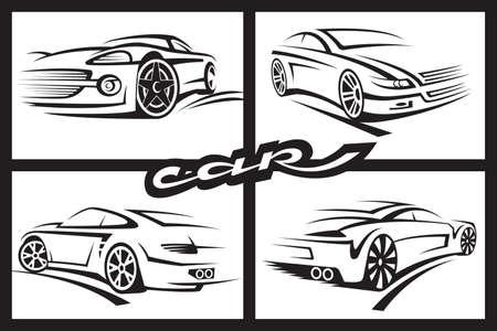 white car: set di quattro auto in bianco e nero Vettoriali