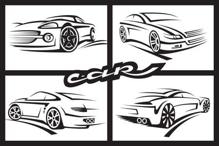 fast auto: set of four monochrome car