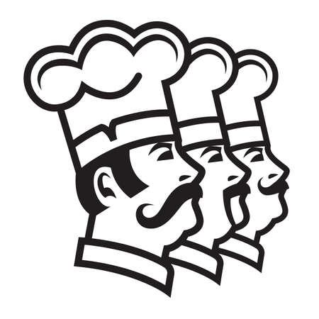 cartoon dinner: monochrome illustration of three mustachioed chefs