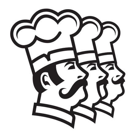 chef hat: monochrome illustration of three mustachioed chefs