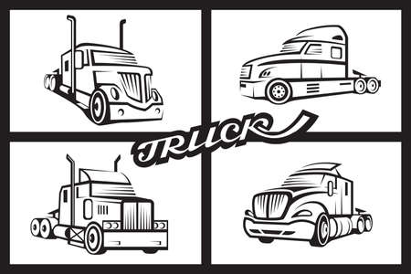 monochrome collection of four trucks Vector