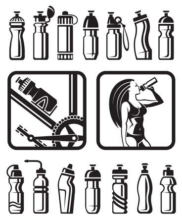 water activity: set of different water bottles for sport