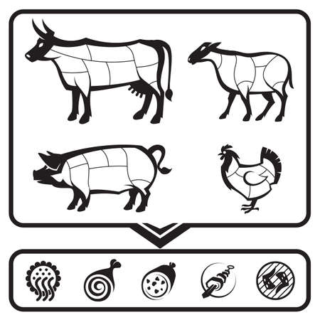 plan for cutting meat cows, sheep, pigs and chickens Vector