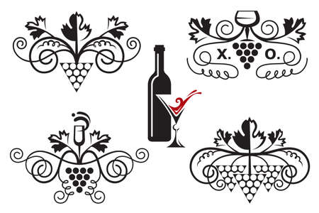 red grape: set of grapes elements for a wine label Illustration