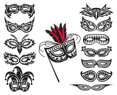carnaval: reeks geïsoleerde carnaval maskers Stock Illustratie