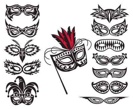 black mask: set of isolated carnival masks