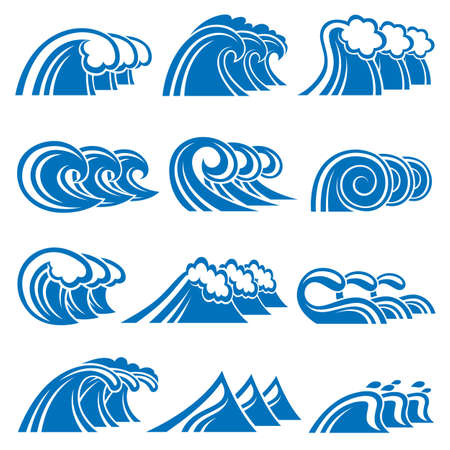 water wave: illustration collection of sea waves
