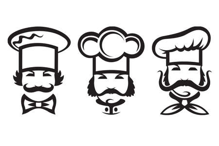 chef cartoon: ilustraci�n monocromo de tres chefs