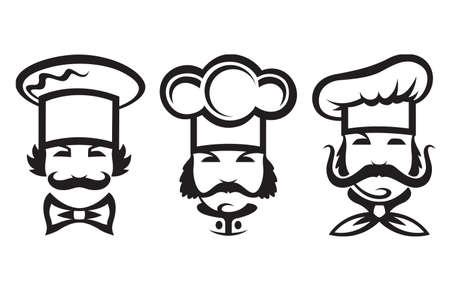 chef hat: monochrome illustration of three chefs Illustration