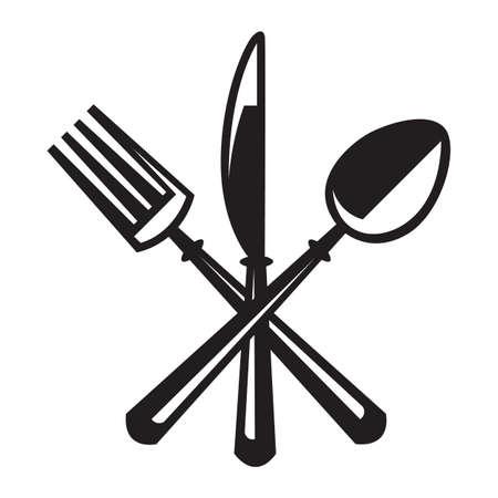 cuchillo y tenedor: ilustraciones monocromas juego de cuchillo, tenedor y cuchara Vectores