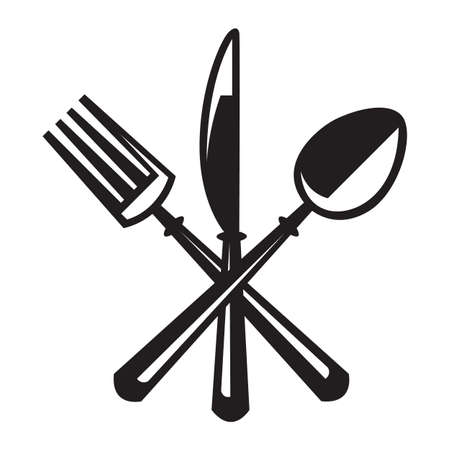 fork: monochrome illustrations set of knife, fork and spoon Illustration