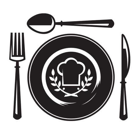 cuchillo, tenedor, cuchara y plato Ilustración de vector