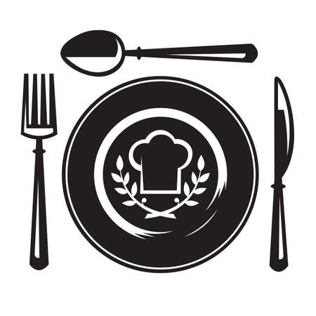 knife and fork: knife, fork, spoon and plate Illustration