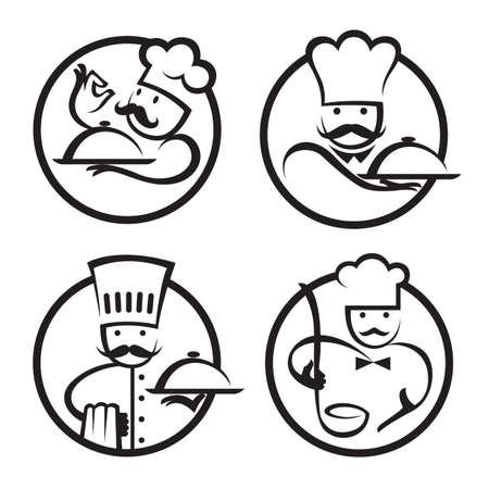 chef caricatura: chefs establecido con la bandeja de comida en la mano