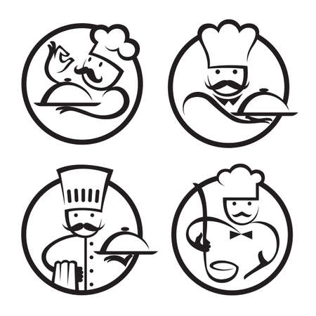 cartoon chef: chefs set with tray of food in hand