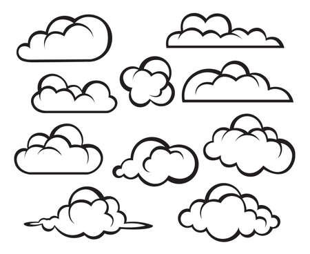 monochrome Darstellung von Wolken-Sammlung Vektorgrafik