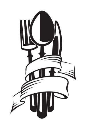 the knife: ilustraciones monocromas juego de cuchillo, tenedor y cuchara Vectores