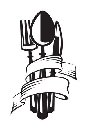 zwart-wit illustraties set van mes, vork en lepel