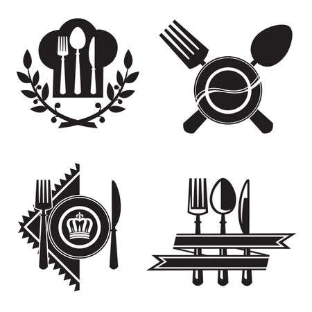 icone in bianco e nero con piatto, coltello e forchetta