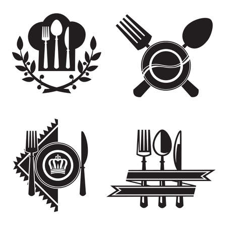 gourmet: monochrome icons with dish, knife and fork Illustration
