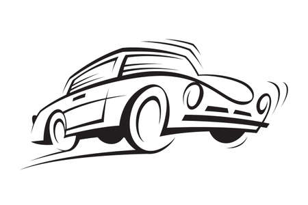 automobile industry: abstract monochrome illustration of a car